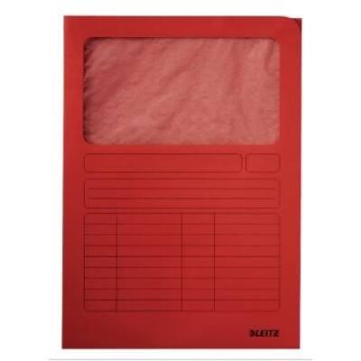 Mappa LEITZ karton ablakos piros